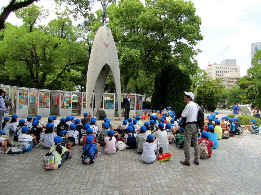 School children at the Children's Peace Monument in Hiroshima